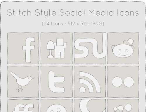 Iconos gratis de Redes Sociales, cosidos tela