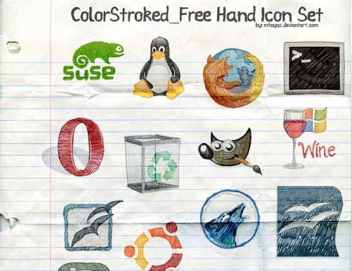 Iconos gratis de Redes Sociales, hechos a mano con pluma