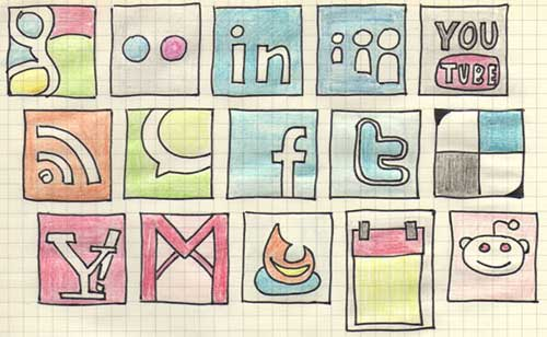 Iconos gratis de Redes Sociales, esbozos a mano