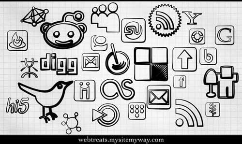 Iconos gratis de Redes Sociales, dibujos rotulador