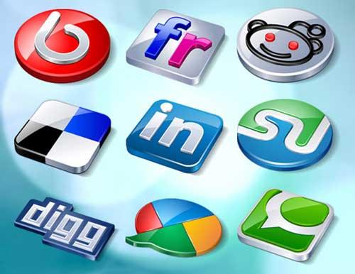 Iconos gratis para Redes Sociales brillantes en relieve