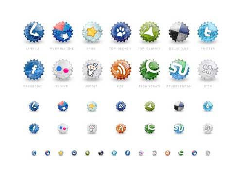 Iconos gratis de Redes Sociales estilo de insignias