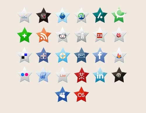Iconos gratis para Redes Sociales en forma de estrella