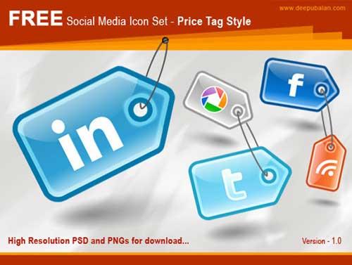 Iconos gratis de Redes Sociales, etiquetas para precios