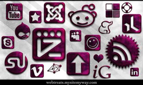 Iconos para Redes Sociales vidrio fucsia