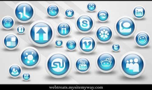 Iconos para Redes Sociales esféricos azules