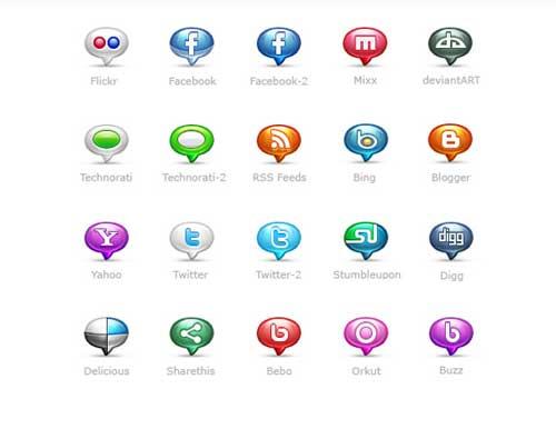 Iconos gratis de Redes Sociales como globos de texto