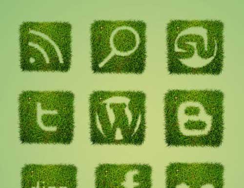 Iconos gratis de Redes Sociales, imitación hierba