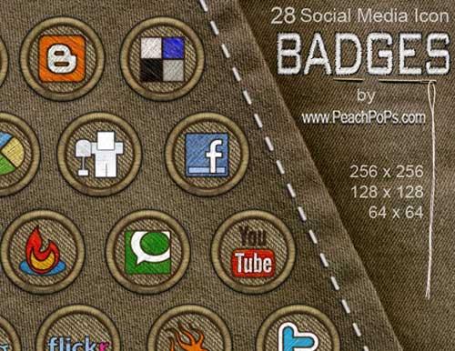 Iconos gratis de Redes Sociales, insignias bordadas