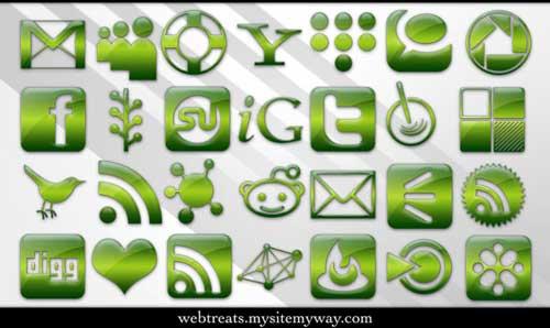 Iconos para Redes Sociales color verde gelatina