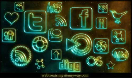 Iconos gratis de Redes Sociales, luces de neón