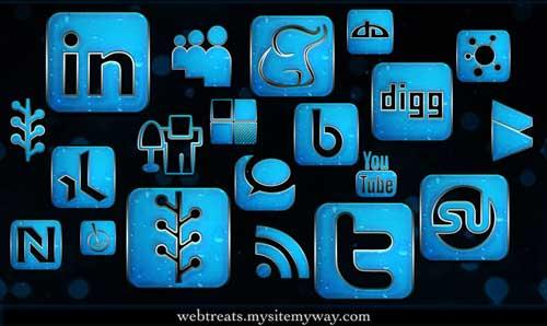 Iconos gratis para Redes Sociales azules efecto lluvia