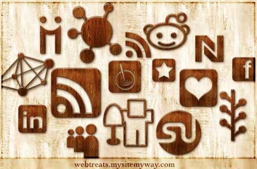 Iconos gratis de Redes Sociales, madera pulida