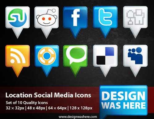 Iconos gratis de Redes Sociales en forma de marcadores de mapa