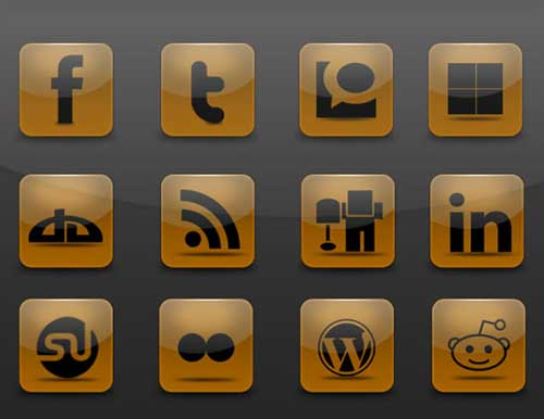Iconos gratis de Redes Sociales en fondo marrón