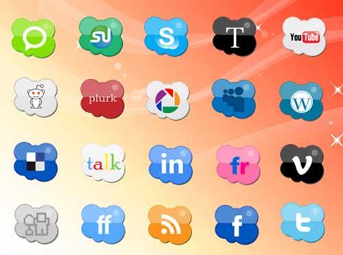 Iconos gratis para Redes Sociales en forma de nube
