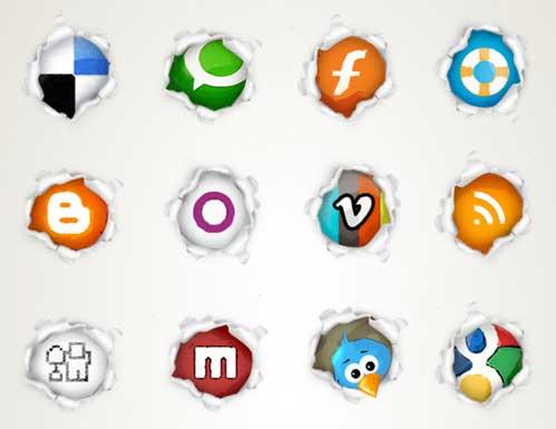 Iconos gratis de Redes Sociales página rasgada