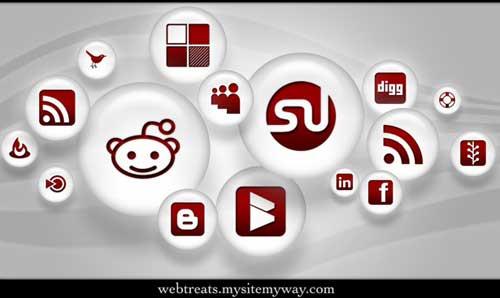 Iconos gratis de Redes Sociales color rojo y perla