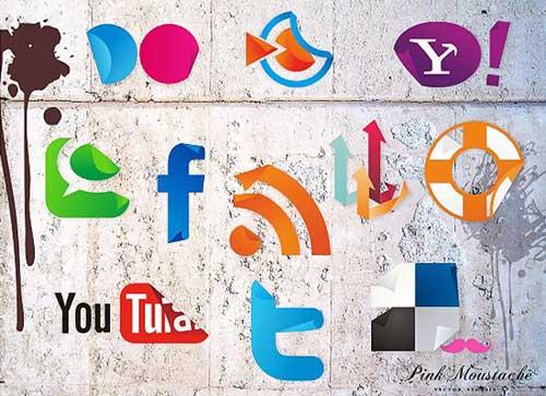 Iconos gratis de Redes Sociales, pegatinas despegadas