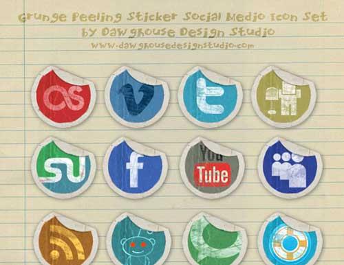 Iconos gratis de Redes Sociales en forma de pegatina usada