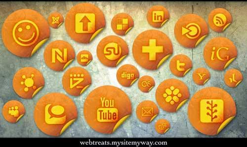 Iconos gratis de Redes Sociales con forma de pegatinas naranjas