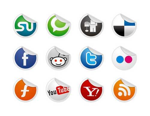 Iconos gratis para Redes Sociales de pegatinas dobladas