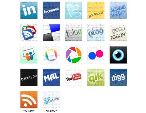Iconos gratis de Redes Sociales, fondo pared