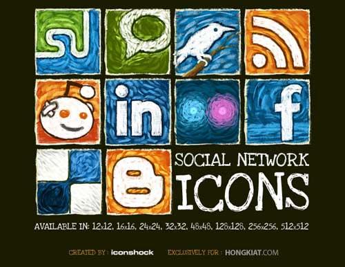 Iconos gratis de Redes Sociales, oleo impresionista