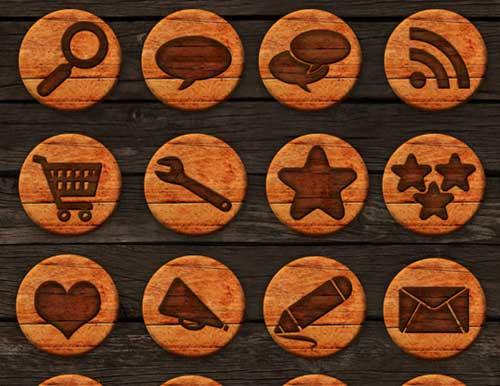 Iconos gratis de Redes Sociales, placa de madera redonda