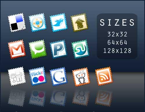 Iconos gratis de Redes Sociales, sellos de correos
