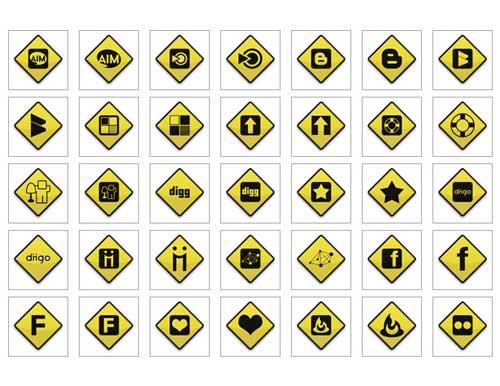 Iconos gratis de Redes Sociales, señales tráfico de peligro