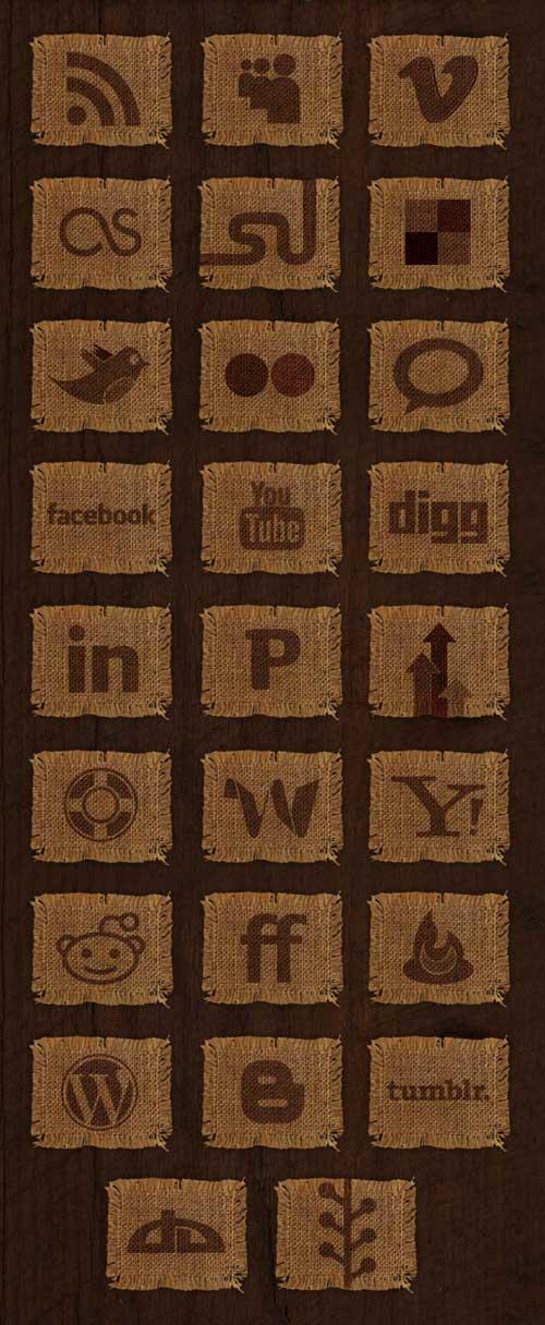 Iconos gratis redes sociales, simulando tejido