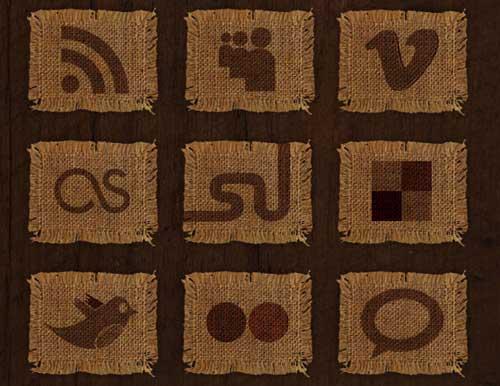 Iconos gratis de Redes Sociales en tejido arpillera