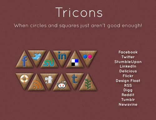 Iconos gratis de Redes Sociales, triángulos entrelazados