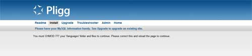 Instalación Pligg error de lenguaje