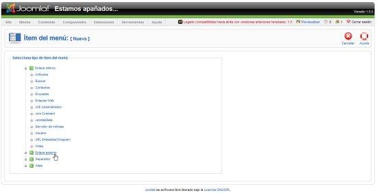 Joomla menu enlace externo