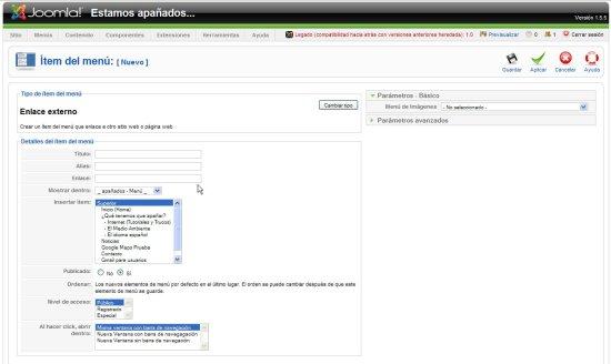 Joomla menu enlace externo nombre y url