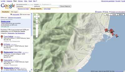Googel maps - vista del mapa de peniscola