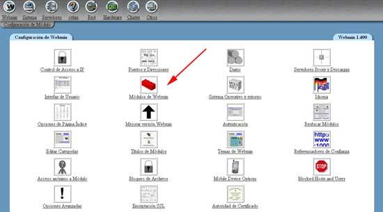 modulos webmin instalar csf