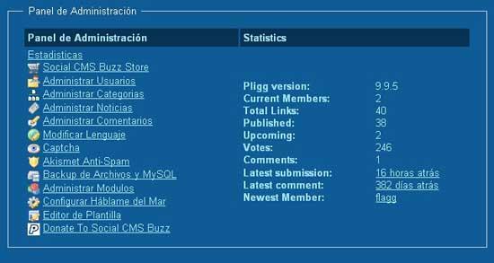 panel administración Pligg 9.9.5 español