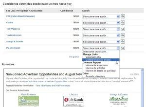 Google Affiliate Network - comisiones obtenidas
