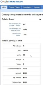 Google Affiliate Network - número de clicks