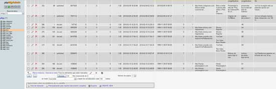 PhpMyAdmin con contenido spammer