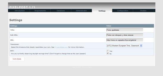 Pixelpost instalación Datos del sitio