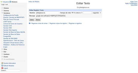 Servidor DNS Bind, editar campo TXT de texto