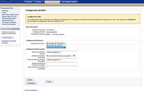 Elegir servidor de nombres de DNS de 1&1