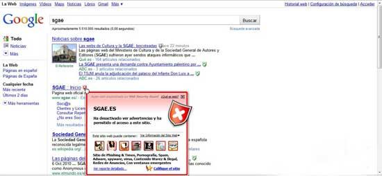 La SGAE parcipa de la pesca de contraseñas, resultados de búsque de Google