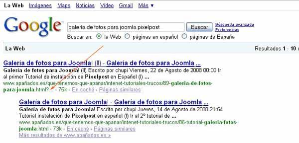 id de sesión de Joomla! para SERP