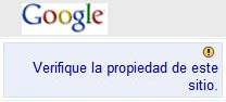 Verificación propiedad de sitio Google