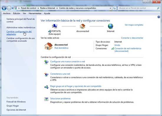 Windows 7, cambiar configuración adaptador